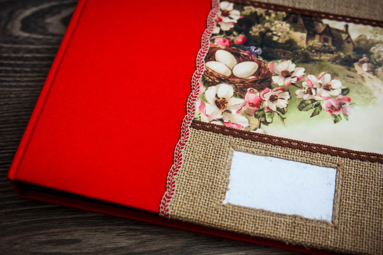 álbum personalizado hecho a mano detalle de un álbum con tela de saco