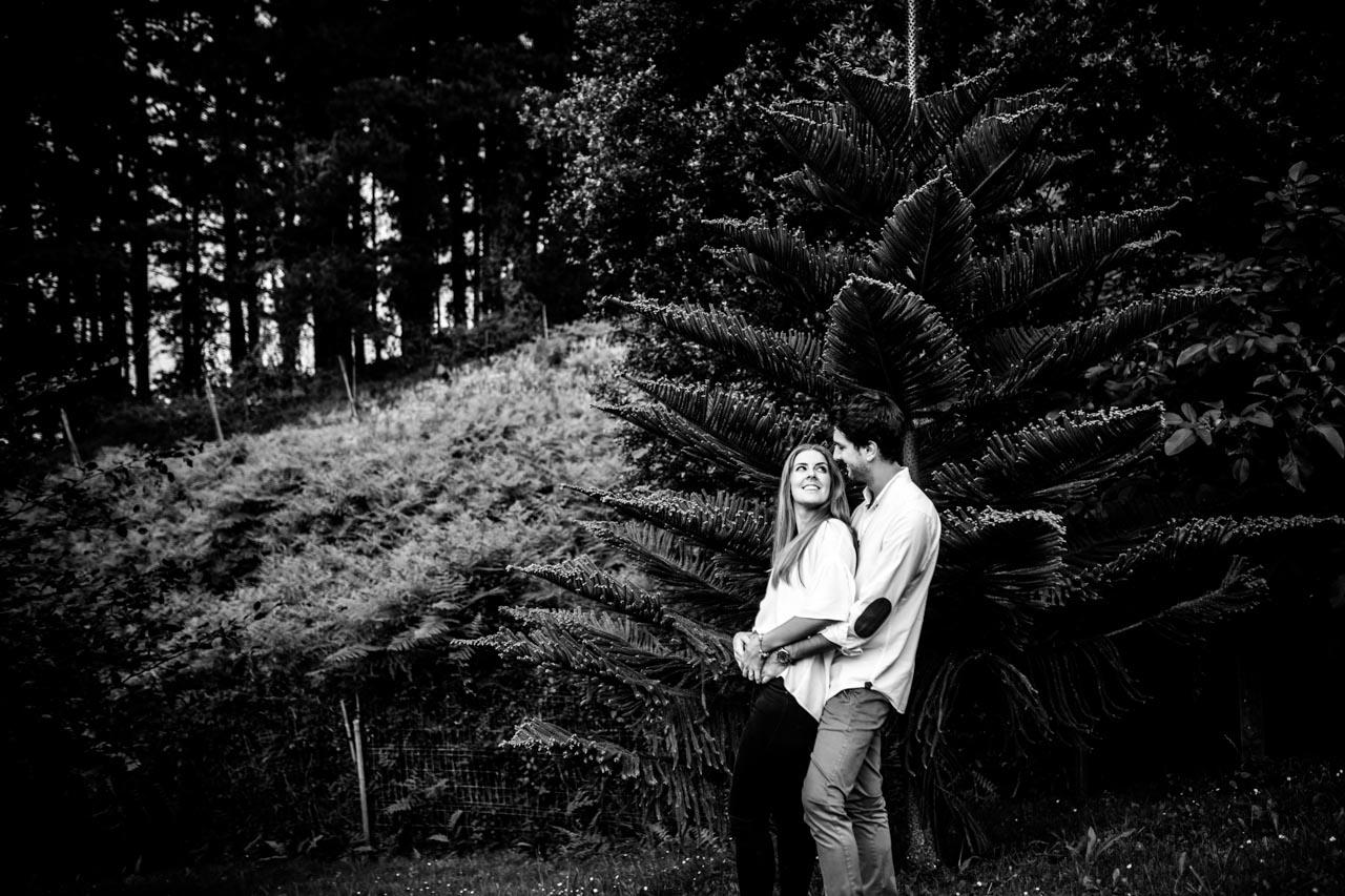 los novios abrazados en un bosque en una preboda en haitzalde