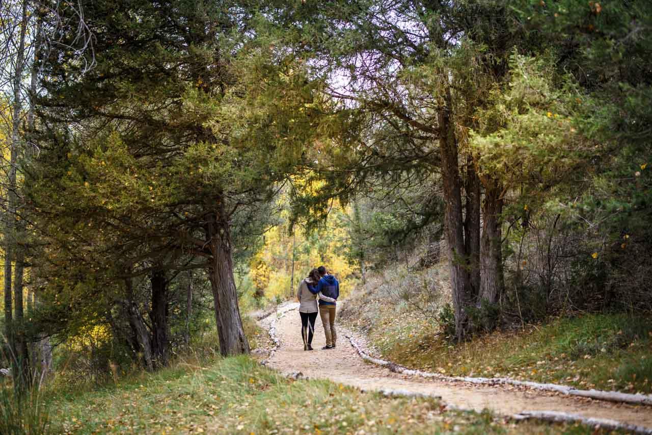 los novios pasean abrazados por un caminito en una preboda en Soria