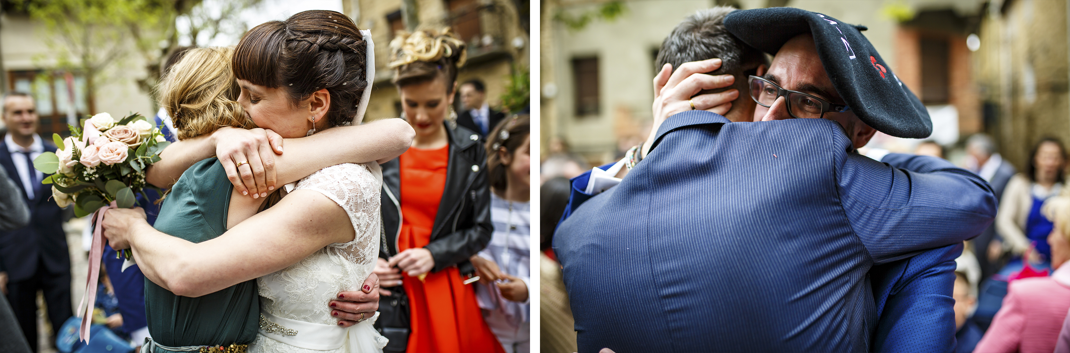 los novios abrazan a familiares a la salida de la iglesia en una boda en laguardia